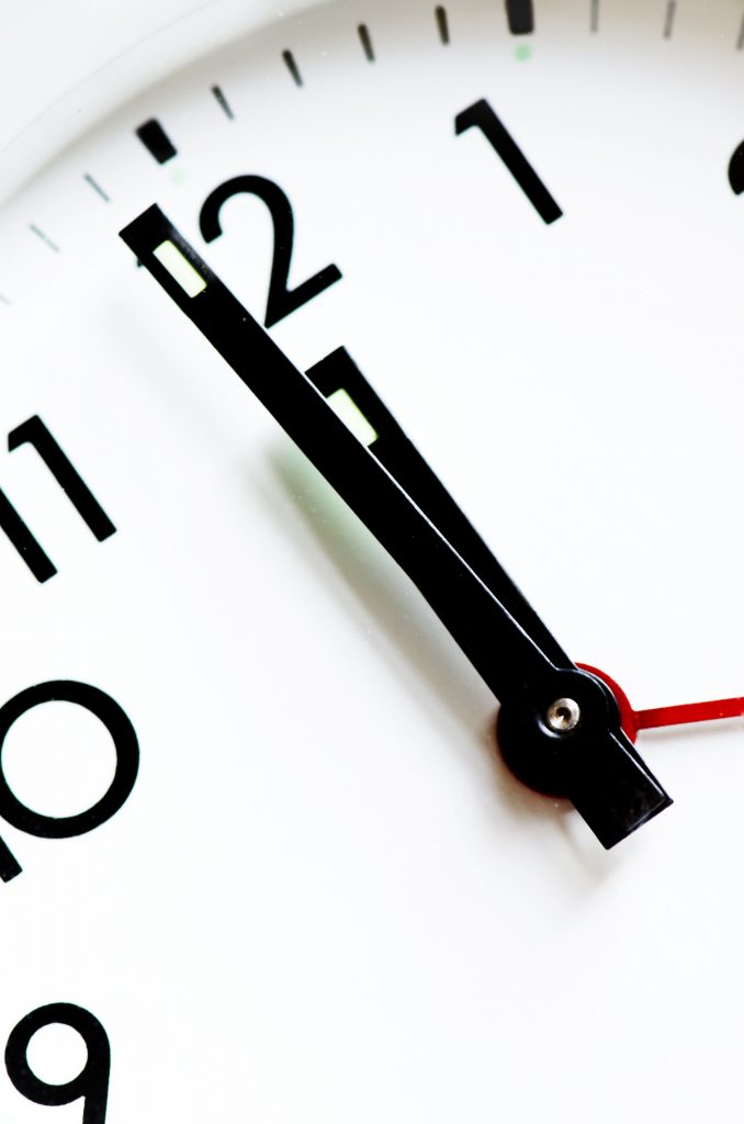 Clock showing time - picture form of the 5 stages of FIRE